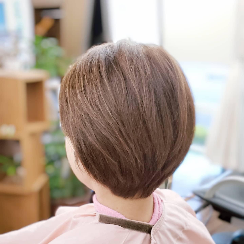 膨らむ髪がおさまる髪になりました。